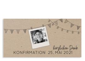 """Konfirmationsdanksagung """"Wimpelchen"""" schwarz"""