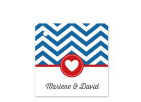 Geschenkanhänger zur Hochzeit Hamptons Heart Blau/Rot