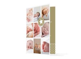 Geburtskarte Sina/Sami (Klappkarte, mit 10 Fotos) Beige