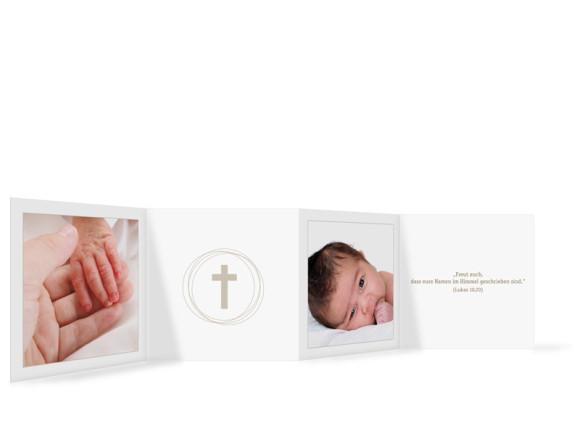Innenansicht, Leporello zur Taufe, Motiv Justus/Jasmin, Farbversion: weiß/beige