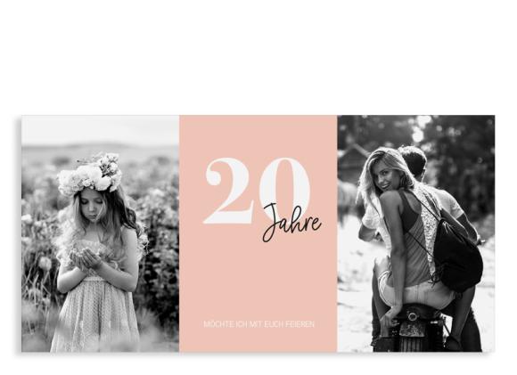 """Einladungskarten 20. Geburtstag """"Zeitreise"""""""