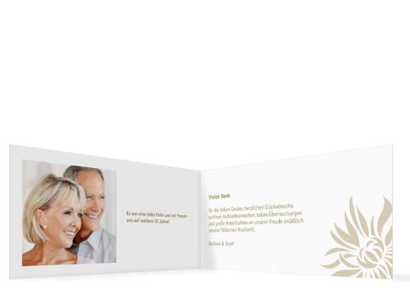 Danksagung zur Silbernen Hochzeit, Motiv Florenz mit Foto, Innenansicht, Farbversion: beige