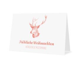 Weihnachtskarte Pure Deer (Klappkarte A6) Apricot