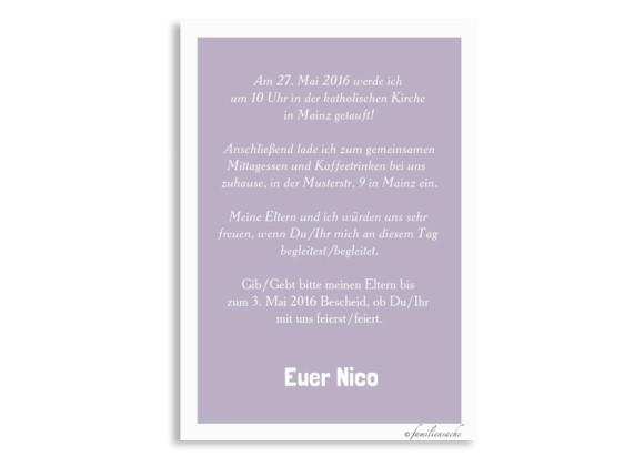 Einladungskarten zur Taufe Nizza/Nico, Rückseite in flieder
