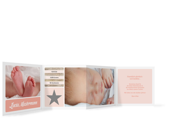 Geburtskarte (Leporello), Motiv: Lucia/Luca, Rückseite, Farbversion: apricot