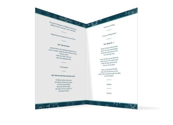 Innenansicht, Klappkarte zur Hochzeit (Kirchenheft), Motiv Reykjavik, Farbversion: blau