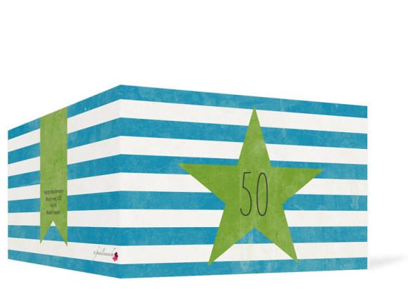 Einladung zum 50. Geburtstag, Motiv Vintage Star, Außenansicht, Farbversion: blau/grün
