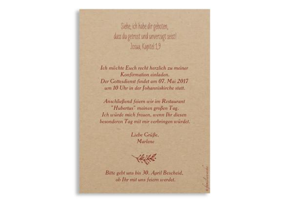 Einladungskarten zur Konfirmation, Motiv Nature, Postkarte A6, Rückseite, Farbversion: bordeaux