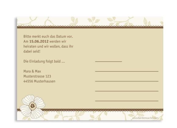 Rückseite, Einladungs-Postkarte zur Hochzeit, Motiv Oxford, Farbversion: beige/braun