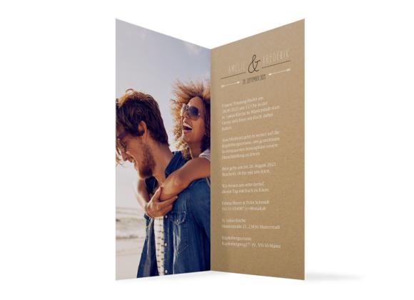 Einladungskarten Hochzeit (Klappkarte DL), Motiv: Rotterdam Natural, Innenansicht, Farbvariante: schwarz