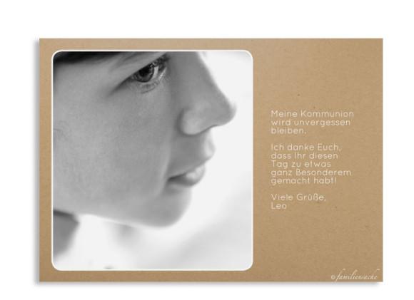 Kommunionsdanksagung (Postkarte mit Foto), Motiv: Farbenfroh, Rückseite, Farbvariante: schwarz