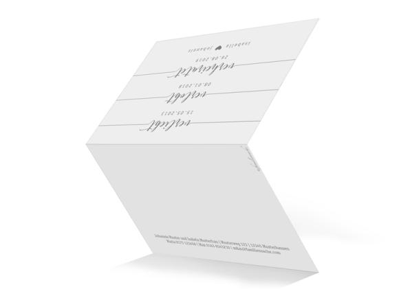 Einladungskarte Hochzeit (Klappkarte A6, unten offen), Motiv: Gent Pure, Aussenansicht, Farbvariante: grau
