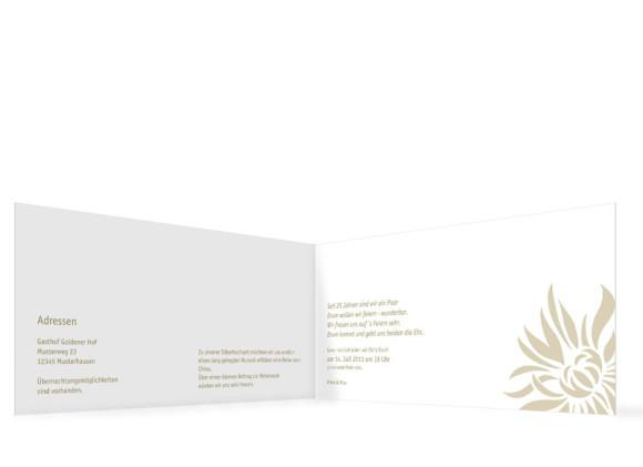 Innenansicht, Einladungskarte zur Silberhochzeit (Klappkarte, Format DIN Lang), Motiv Florenz, Farbversion: beige
