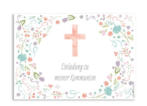 Kommunion Einladung Vintage Flower
