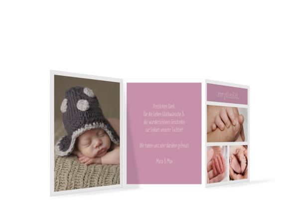 Geburtskarte (Leporello), Motiv: Efie/Eddy, Rückseite, Farbversion: brombeer