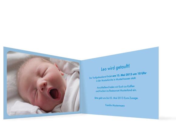 Innenansicht, Klappkarte zur Taufe, Motiv Liv/Leo, Farbversion: hellblau