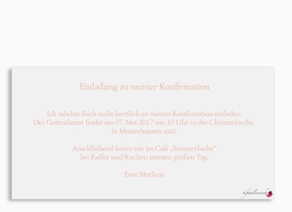 Einladungskarten zur Konfirmation, Motiv Calligraphy, Postkarte DIN Lang, Rückseite, Farbversion: apricot