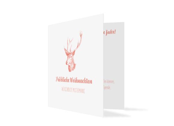 Firmen-Weihnachtskarte Pure Deer (Klappkarte, quad.)