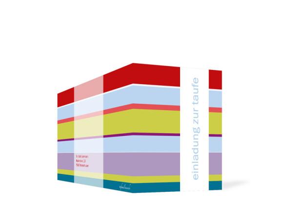 Außenansicht, Klappkarte zur Taufe (Format DIN Lang), Motiv Franka/Fred, Farbversion: hellblau