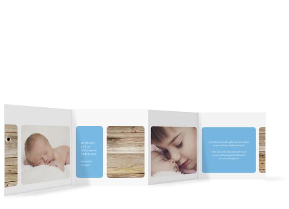 Geburtskarten Steffi/Steffen, Innenansicht der Farbversion: blau