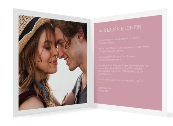 Einladung zur Hochzeit (quadratische Klappkarte mit Foto), Motiv: HE Salzburg, Innenansicht, Farbvariante: altrosa