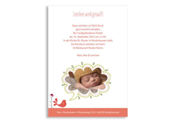 Taufeinladungskarte, Motiv Lenchen/Lenhard, Rückseite, Farbversion: apricot