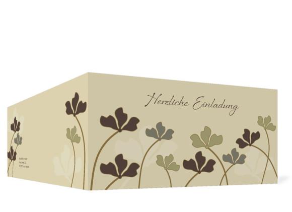 Außenansicht, Geburtstagseinladung (Format DIN Lang), Motiv Growing, Farbversion: beige
