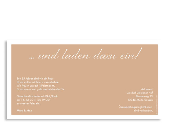 Rückseite, Einladungs-Postkarte zur Silberhochzeit, Motiv Verona, Farbversion: beige