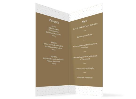 Innenansicht, Menükarte zur Hochzeit (Klappkarte), Motiv Prag, Farbversion: beige