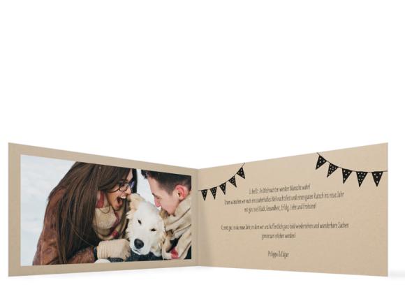 Foto-Weihnachtskarte (Klappkarte DL quer), Motiv: Weihnachtsparty, Innenansicht, Farbvariante: schwarz