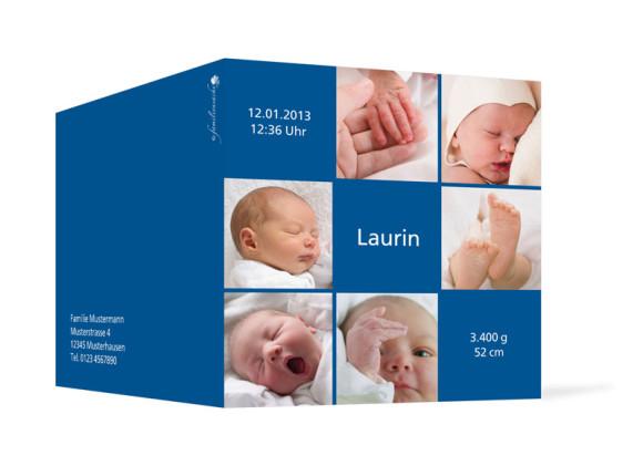 Außenansicht, Klappkarte zur Geburt, Motiv Luise/Laurin, Farbversion: blau