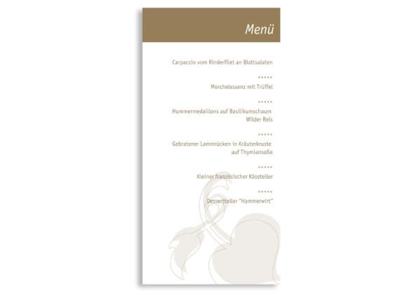 Rückseite, Menükarte zur Hochzeit (DIN Lang-Karte, zweiseitig), Motiv Oslo, Farbversion: beige