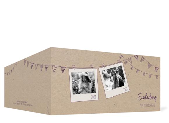 Einladungskarten Geburtstag (Klappkarte DL quer - 3 Fotos), Motiv: Lebensweg, Aussenansicht, Farbvariante: aubergine