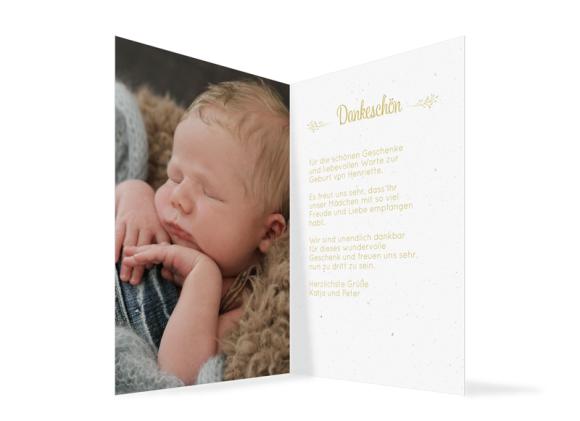 Geburtskarte (Klappkarte A6, zwei Fotos), Motiv: Henriette/Henry, Innenansicht, Farbvariante: senfgelb