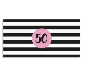 Einladungskarte Lucky Stripes zum 50. Geburtstag Pink