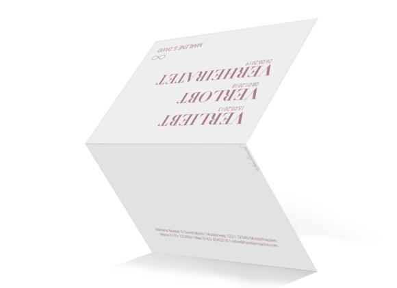 Einladung zur Hochzeit (Klappkarte A6 - unten offen), Motiv: Liebe, Aussenansicht, Farbvariante: altrosa