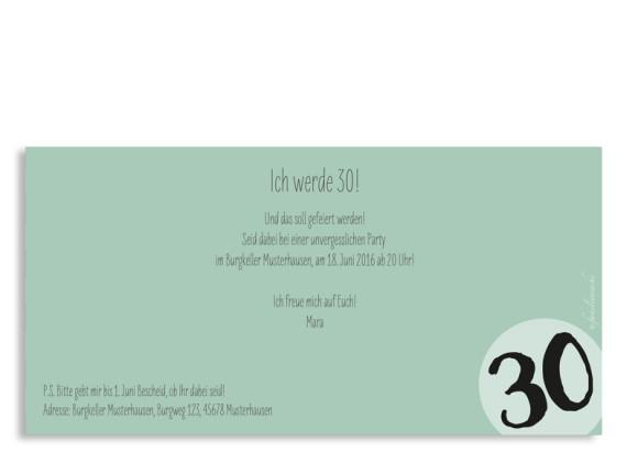 Einladungskarten Lucky Stripes, 30. Geburtstag, Postkarte, Rückseite, Farbversion: pistazie