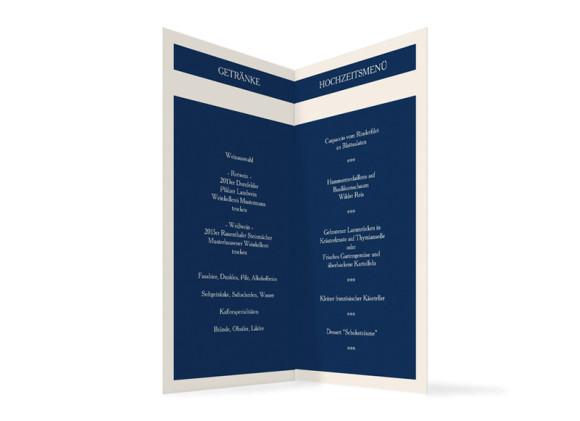 Innenansicht, Klappkarte zur Hochzeit (Einladung), Motiv Monaco, Farbversion: blau
