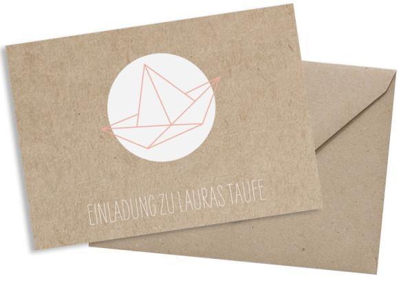 Taufeinladung (Postkarte A6), Motiv: Mare, mit Briefhülle, Farbvariante: apricot