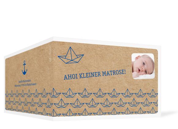 Geburtskarten Mira/Mattis, Außenansicht der Farbversion: dunkelblau