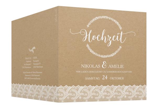 Einladungskarten zur Hochzeit (Klappkarte quadratisch), Motiv: Gibraltar, Aussenansicht, Farbvariante: weiss