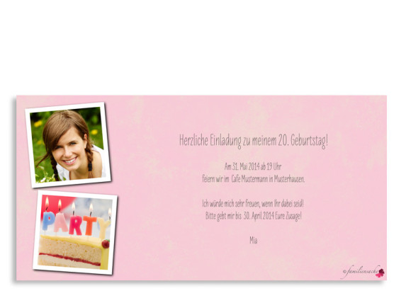Einladung zum 20. Geburtstag, Motiv Vintage Star, Rückseite, Farbversion: pink/rosa