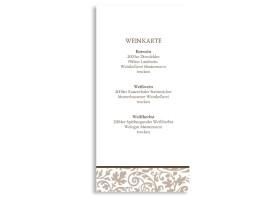 Menükarten zur Hochzeit Rokko Weiß (DIN Lang-Karte) Beige