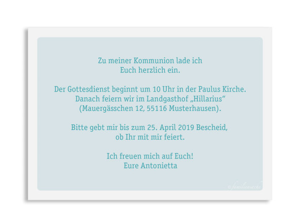 Kommunionseinladung (Postkarte mit Foto), Motiv: Lucia / Luca, Rückseite, Farbvariante: eisblau