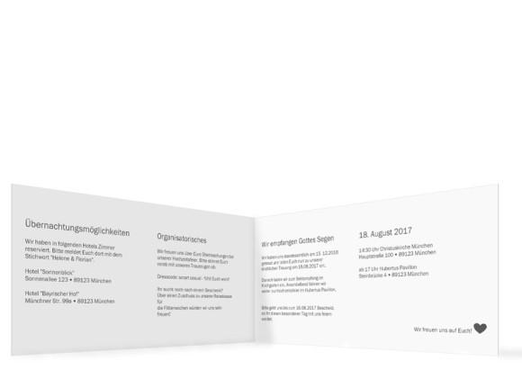 Einladung zur Hochzeit, Motiv München City Klappkarte, Innenansicht, Farbversion: dunkelgrau