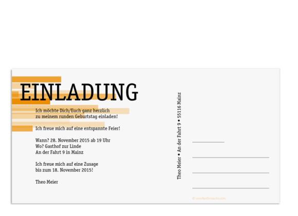 Einladungskarten Technik zum 60. , Rückseite der Farbversion: orange