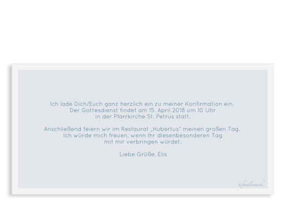 Einladung zur Konfirmation (Postkarte DL quer mit Fotos), Motiv: Bedeutung, Rückseite, Farbvariante: dunkelblau