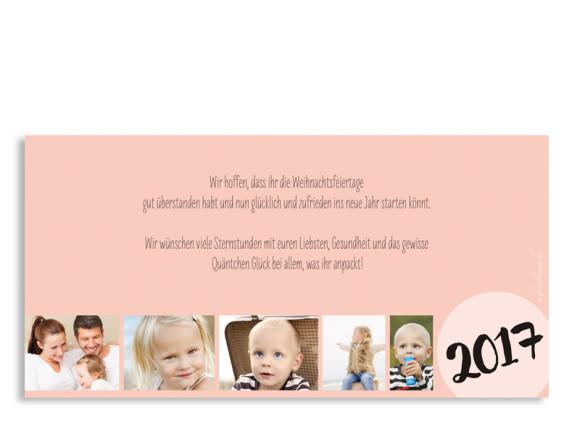 Neujahrskarte (Postkarte, DIN Lang), Motiv: Lucky Stripes, Rückseite, Farbversion: apricot