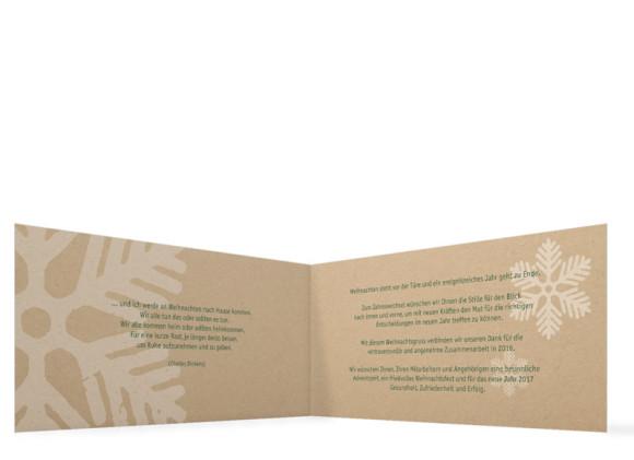 Firmen-Weihnachtskarten Eissterne selbst gestalten, Innenansicht in grün