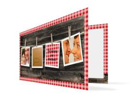 Hochzeitseinladung Alpenglühen (Klappkarte, mit Fotos) Rot
